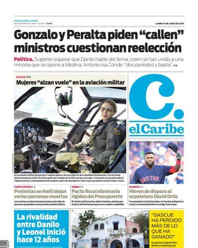 Portada Periódico El Caribe, Lunes 10 Junio 2019