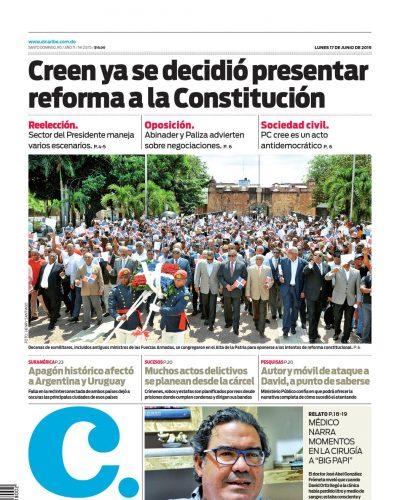 Portada Periódico El Caribe, Lunes 17 Junio 2019