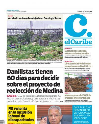 Portada Periódico El Caribe, Lunes 24 Junio 2019