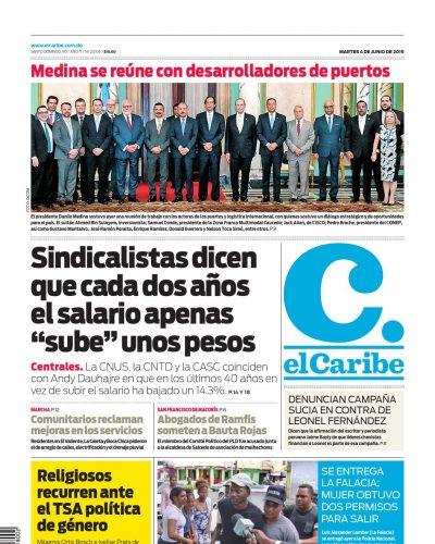 Portada Periódico El Caribe, Martes 04 Junio 2019