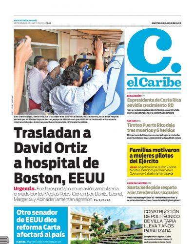 Portada Periódico El Caribe, Martes 11 Junio 2019