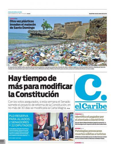 Portada Periódico El Caribe, Martes 18 Junio 2019