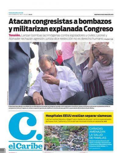 Portada Periódico El Caribe, Martes 25 Junio 2019