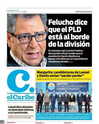 Portada Periódico El Caribe, Miércoles 05 Junio 2019