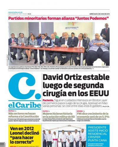 Portada Periódico El Caribe, Miércoles 12 Junio 2019