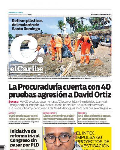 Portada Periódico El Caribe, Miércoles 19 Junio 2019