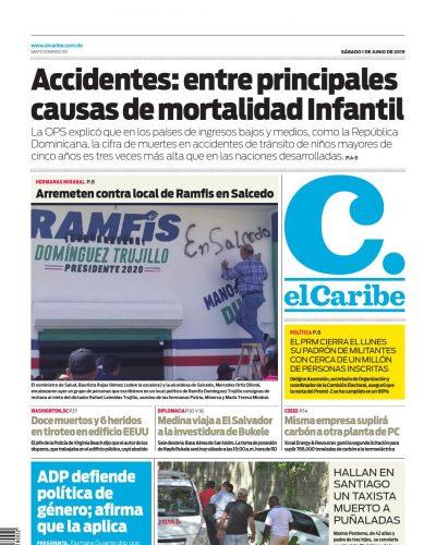 Portada Periódico El Caribe, Sábado 01 Junio 2019