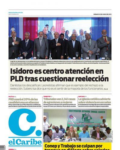 Portada Periódico El Caribe, Sábado 08 Junio 2019