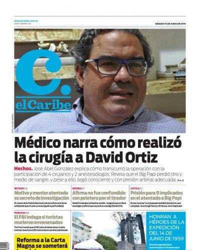 Portada Periódico El Caribe, Sábado 15 Junio 2019