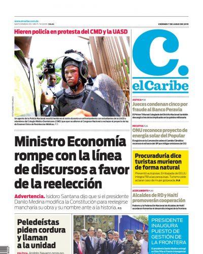 Portada Periódico El Caribe, Viernes 07 Junio 2019