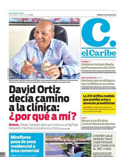 Portada Periódico El Caribe, Viernes 14 Junio 2019
