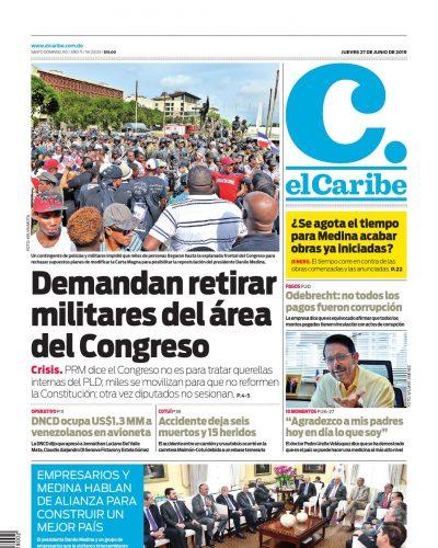 Portada Periódico El Caribe, Viernes 28 Junio 2019