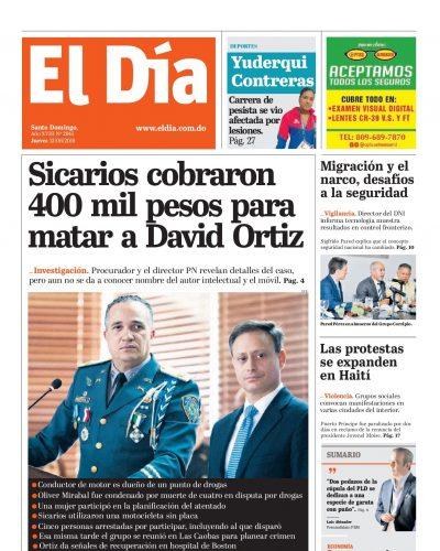 Portada Periódico El Día, Jueves 13 Junio 2019