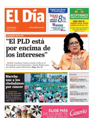 Portada Periódico El Día, Lunes 03 Junio 2019