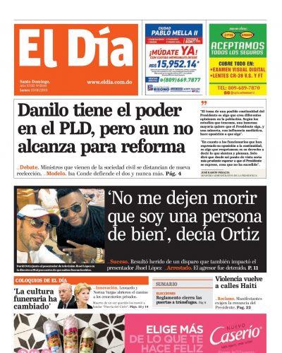 Portada Periódico El Día, Lunes 10 Junio 2019