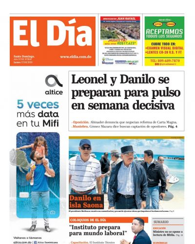Portada Periódico El Día, Lunes 17 Junio 2019