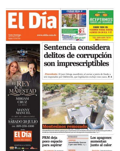 Portada Periódico El Día, Lunes 24 Junio 2019