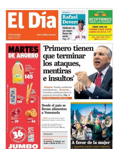 Portada Periódico El Día, Martes 04 Junio 2019