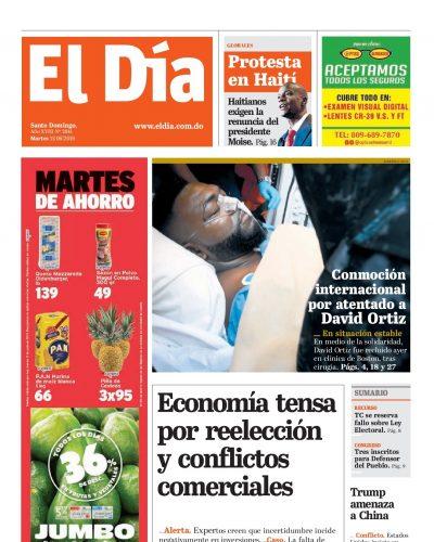 Portada Periódico El Día, Martes 11 Junio 2019