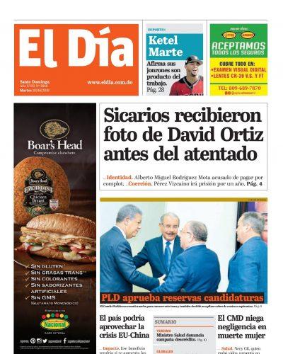Portada Periódico El Día, Martes 18 Junio 2019