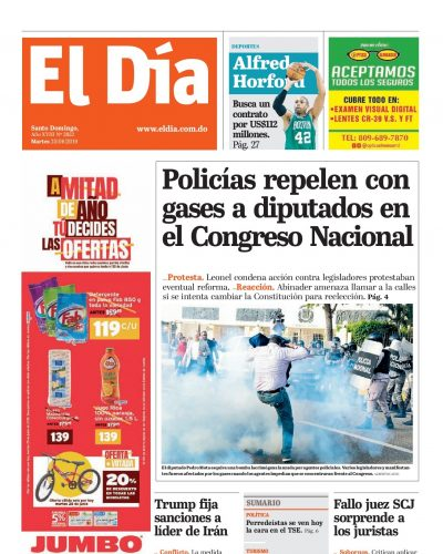 Portada Periódico El Día, Martes 25 Junio 2019
