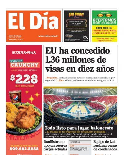 Portada Periódico El Día, Miércoles 05 Junio 2019