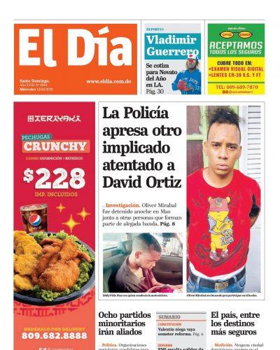 Portada Periódico El Día, Miércoles 12 Junio 2019