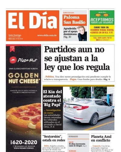 Portada Periódico El Día, Miércoles 19 Junio 2019