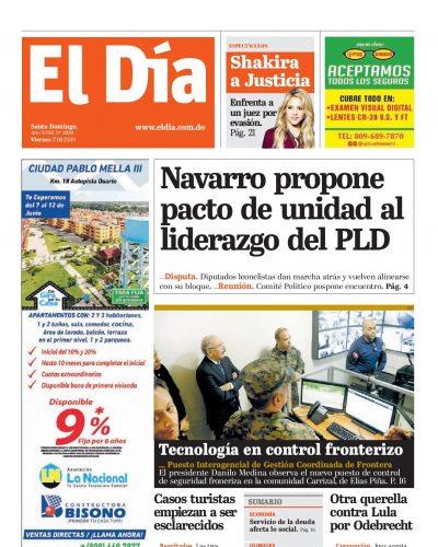 Portada Periódico El Día, Viernes 07 Junio 2019
