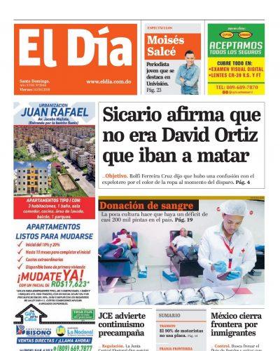 Portada Periódico El Día, Viernes 14 Junio 2019