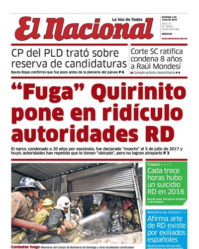 Portada Periódico El Nacional, Domingo 02 Junio 2019