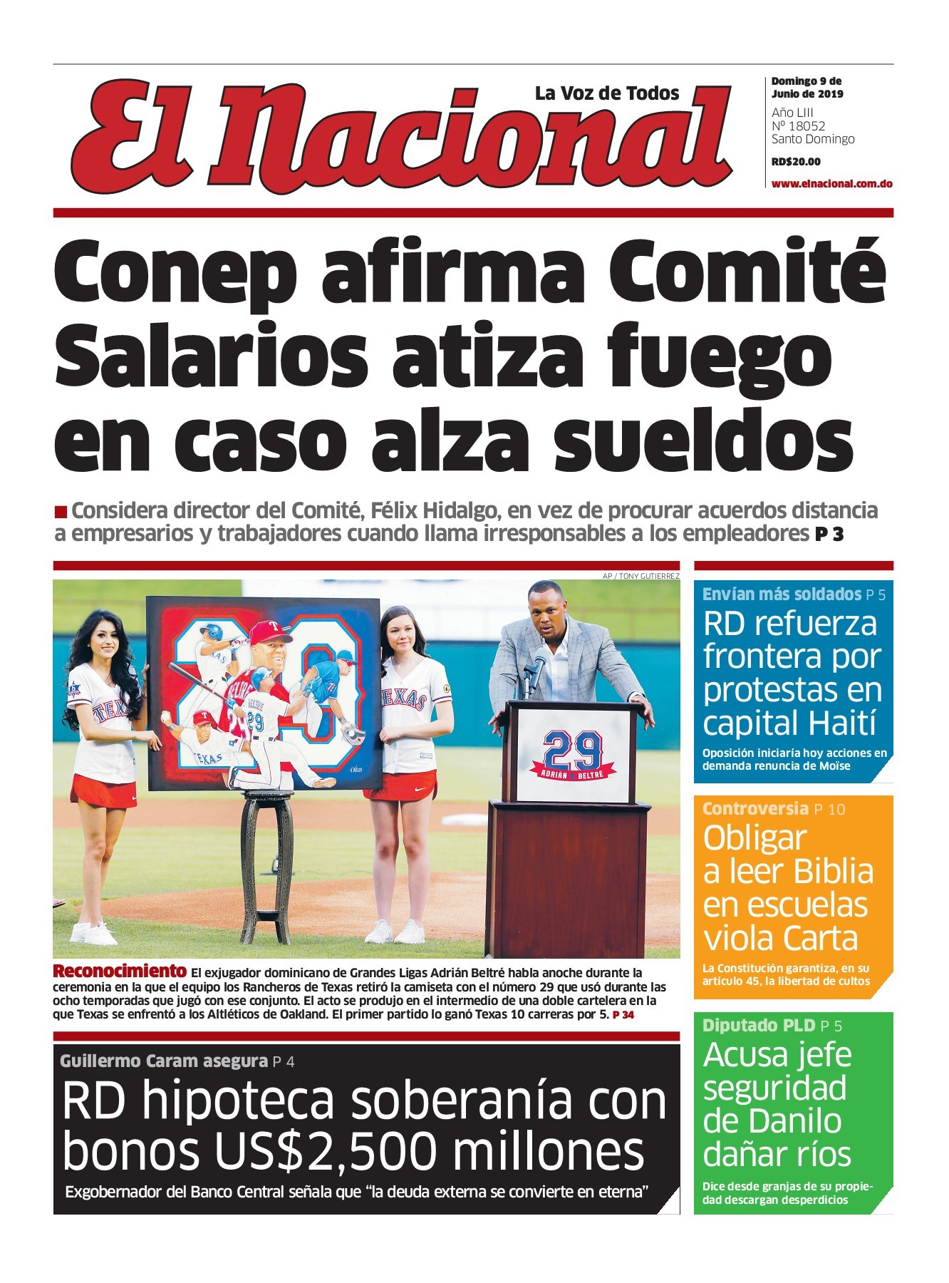 Portada Periódico El Nacional, Domingo 09 Junio 2019