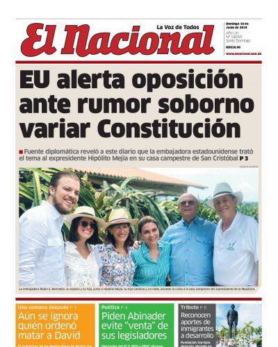Portada Periódico El Nacional, Domingo 16 Junio 2019