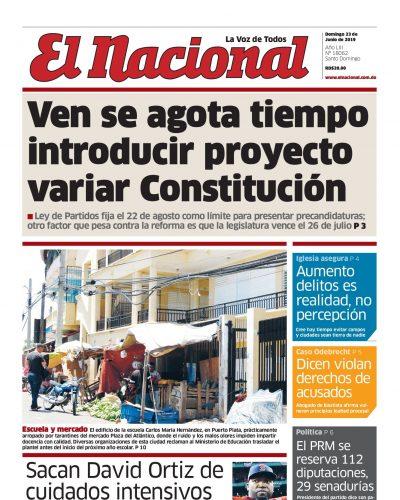 Portada Periódico El Nacional, Domingo 23 Junio 2019