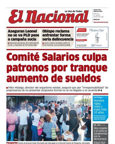 Portada Periódico El Nacional, Jueves 06 Junio 2019