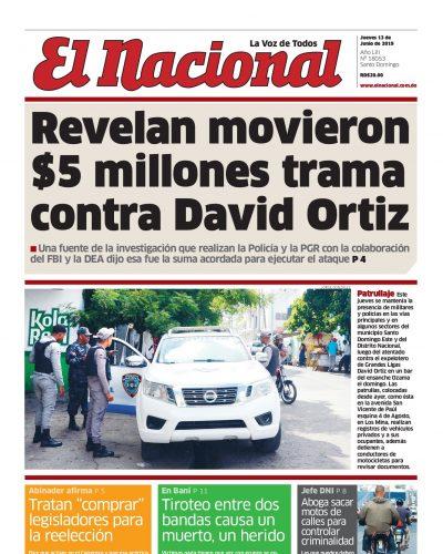 Portada Periódico El Nacional, Jueves 13 Junio 2019