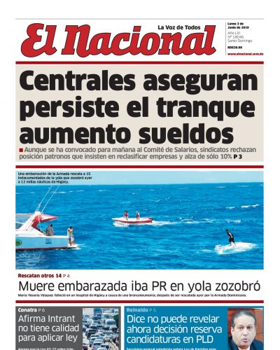 Portada Periódico El Nacional, Lunes 03 Junio 2019