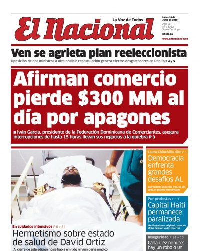 Portada Periódico El Nacional, Lunes 10 Junio 2019
