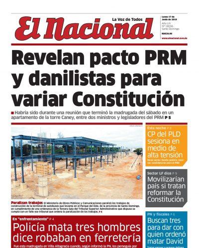 Portada Periódico El Nacional, Lunes 17 Junio 2019