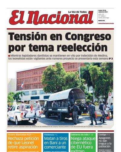 Portada Periódico El Nacional, Lunes 24 Junio 2019