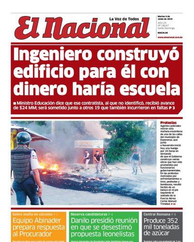 Portada Periódico El Nacional, Martes 04 Junio 2019