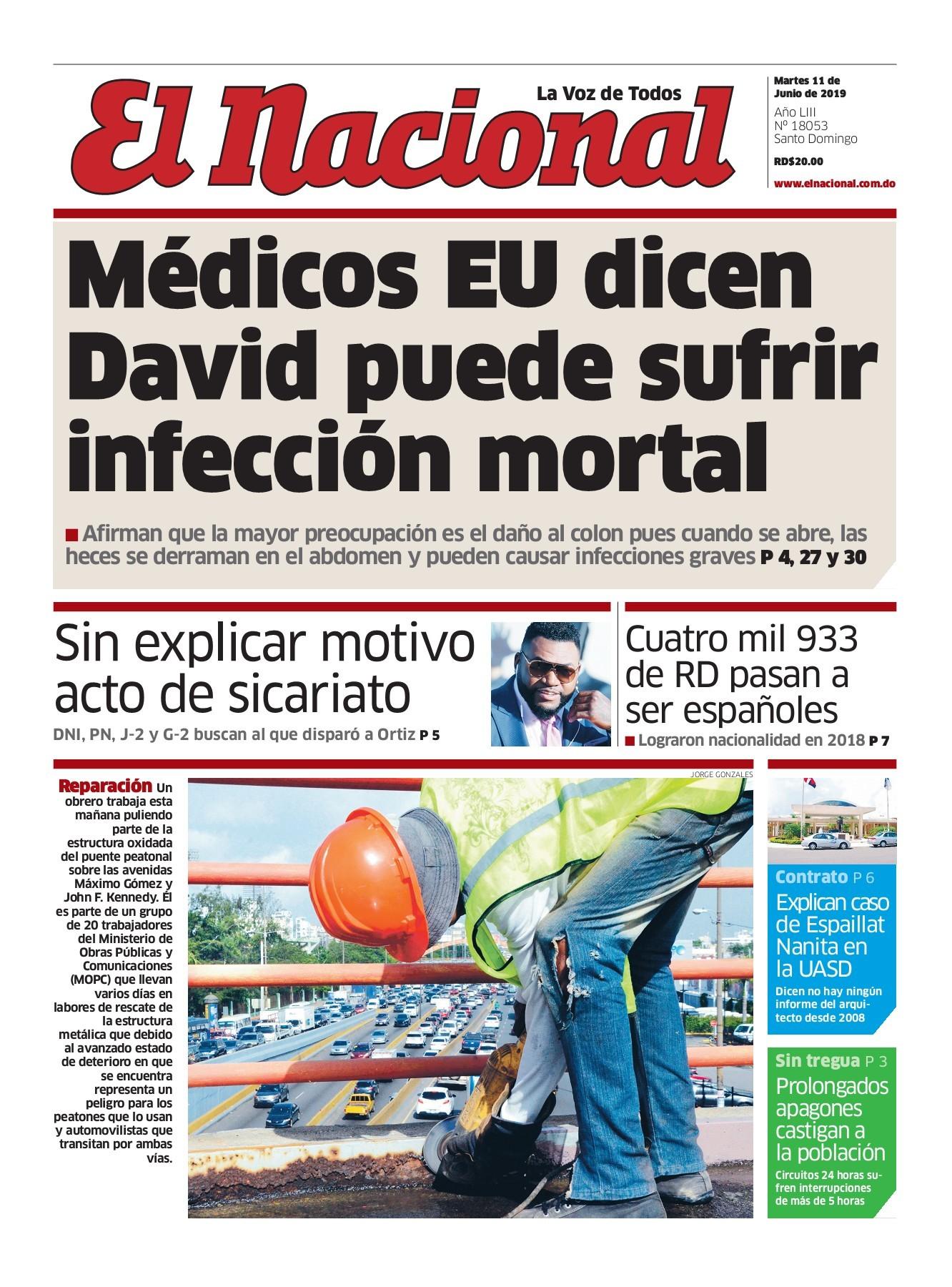 Portada Periódico El Nacional, Martes 11 Junio 2019