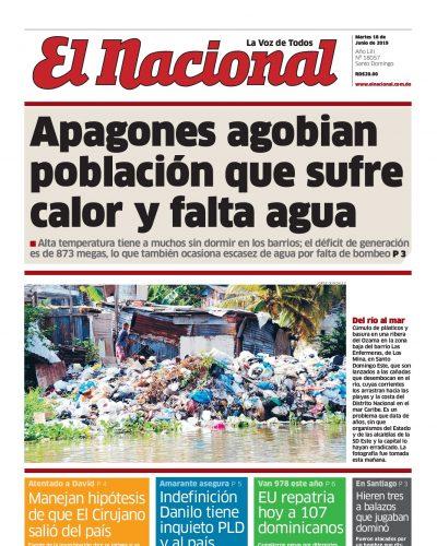 Portada Periódico El Nacional, Martes 18 Junio 2019