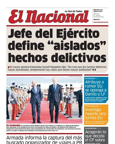 Portada Periódico El Nacional, Miércoles 05 Junio 2019