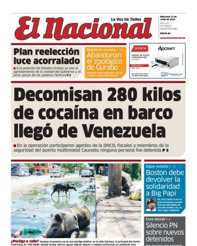 Portada Periódico El Nacional, Miércoles 12 Junio 2019