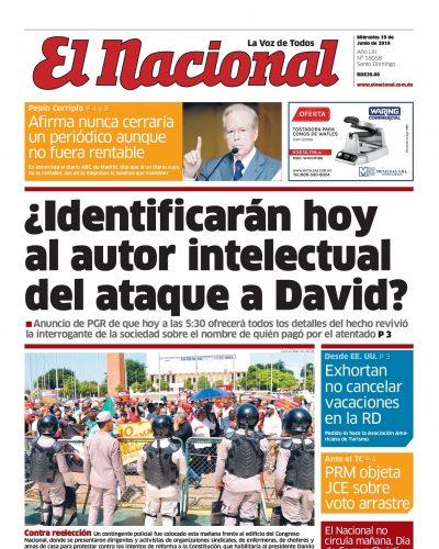 Portada Periódico El Nacional, Miércoles 19 Junio 2019