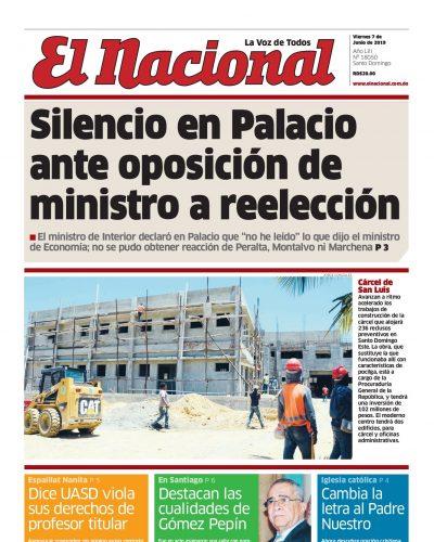 Portada Periódico El Nacional, Viernes 07 Junio 2019