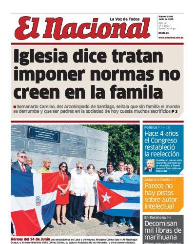 Portada Periódico El Nacional, Viernes 14 Junio 2019