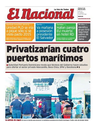Portada Periódico El Nacional, Viernes 31 Mayo 2019