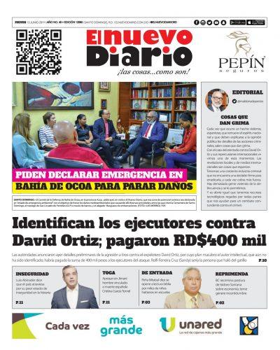 Portada Periódico El Nuevo Diario, Jueves 13 Junio 2019